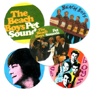 5 BEACH BOYS  BADGES. BRIAN WILSON, Pet Sounds, Psychedelia, 60's pop.