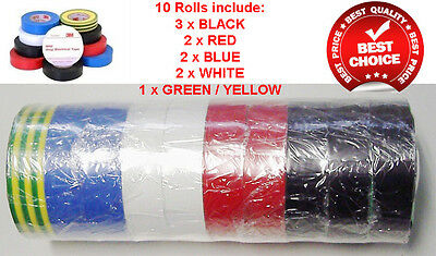 Rainbow 10 Pack Of 3M Electrical Electric Insulation Tape Electricians Tools