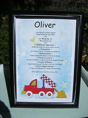 NAME MEANING CERTIFICATE Personalised Gift Christening Naming Day Baby Girl Boy
