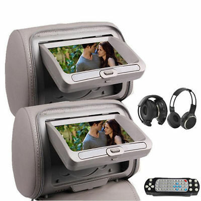 "7"" HD Car Headrest Digital Monitor DVD Player Pillow USB SD FM IR Headphone USA"