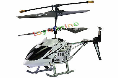 S107 3 Channel 3CH Remote Control RC GYRO Mini Metal Helicopter White S107G
