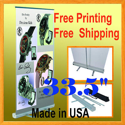 "33"" Retractable Free Graphic Printing Roll Up Banner Stand Trade Show Pop Up 34"""