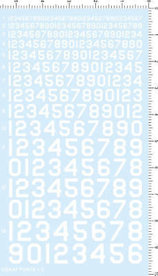 number decals for 13 scales (white) USAF FONTS 1-2