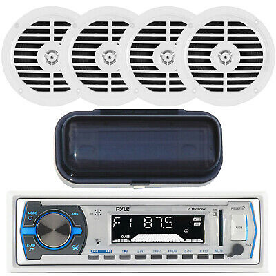 New Pyle Marine Boat In Dash AM/FM Radio MP3 USB Input Player 4 Speakers / Cover