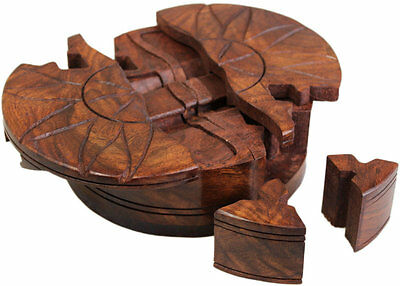 Wooden Puzzle Trinket Box Shesham Wood Gift Idea Secret Compartment Bali India