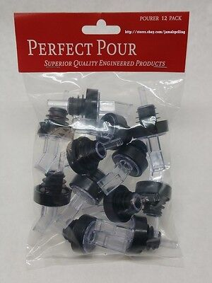 (12) Black & Clear SCREENED Liquor Bottle POUR SPOUTS Flair Pourers