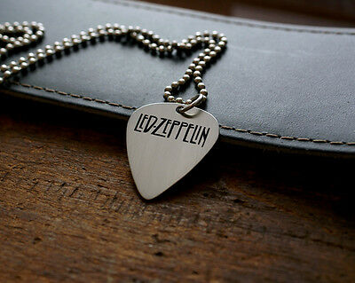 Hand Made Etched Nickel Silver Guitar Pick Necklace - Led Zeppelin