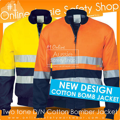 Hi Vis Cotton Drill Flannelette Inner 3M Reflective Hoop Bomb Safety Jacket