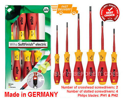 Wiha 6 Piece Slimline Insulated Electricians Screwdriver Set Kit Tools Electric