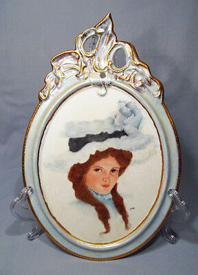 Hand Painted Artist Signed Victorian Lady Porcelain Wall Plaque - Stunning!
