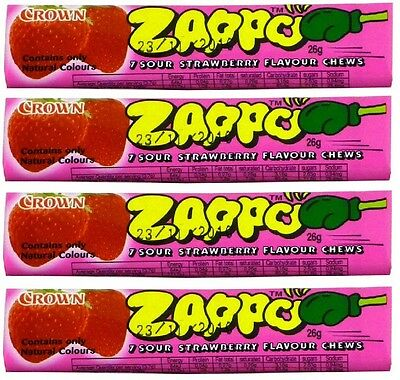 Bulk Lot 20 x Zappo Chews Strawberry 26g Crown Sour Candy Buffet Lollies Sweets