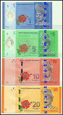 Malaysia 2012 $1 & $5 & $10 & $20 Set Of 4 New Banknotes Unc