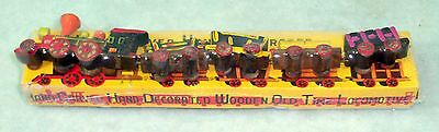 Hand Carved Toy Train Set in Original Box