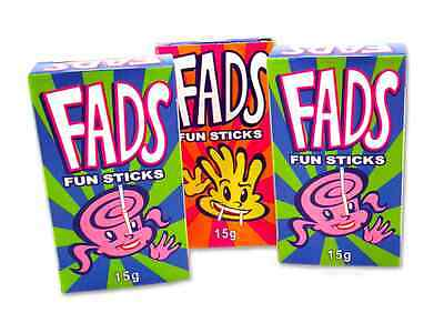 Bulk Lot 12 x Fads Fun Sticks Packs 15g Candy Lolly Buffet Sweets Party Favors