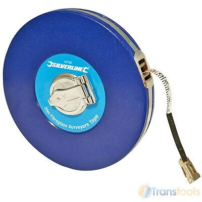 Silverline Surveyors 30m Tape Measure Fibreglass 30 Metre Metric Imperial MT38