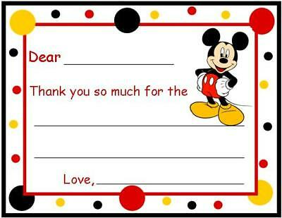 Mickey Mouse FILL IN ~ Custom Thank You or Note Cards