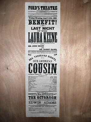 """(200) PLAYBILL REPLICA FORD'S THEATRE BOOTH ABE LINCOLN BROADSIDE POSTER 12""""x40"""""""