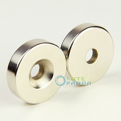 2 x Strong Round Countersunk Magnet 40 x 10 mm Hole 10 mm Rare Earth Neodymium