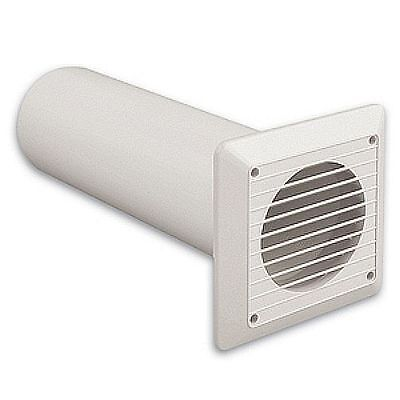 """Extractor Fan Wall Duct Kit - 4"""" 100mm Solid Tube Ducting + White Fixed Grille"""