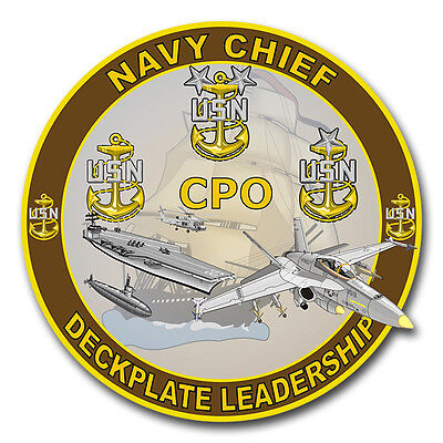 "Navy Chief 'Deckplate Leadership' 5.5"" Die Cut Sticker / Decal"