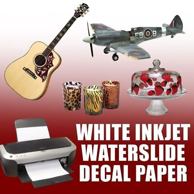 "INKJET Waterslide decal paper WHITE 25 sheets 8.5"" x 11"""