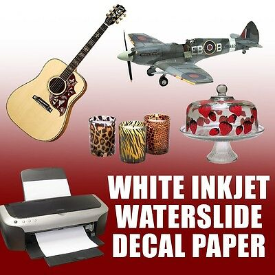 "INKJET  WHITE Waterslide Decal Paper 10 sheets 8.5"" x 11"""