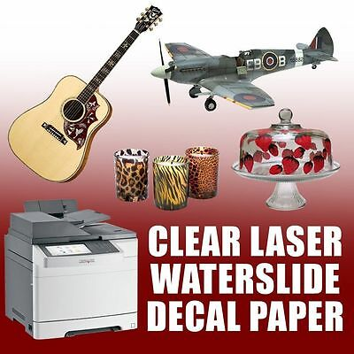 """10 sheets 8.5""""x11"""" laser waterslide decal paper CLEAR"""