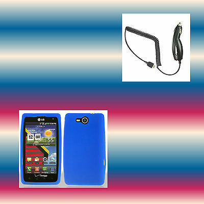 Car Charger+Silicon Blue LG Lucid 4G VS840 Soft Gel Phone Cover Case Skin