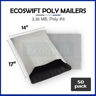 50 14x16 WHITE POLY MAILERS SHIPPING ENVELOPES PLASTIC SELF SEALING BAGS 14 x 16