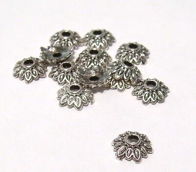 50 x Tibetan Silver Flower Shape Bead Caps 8mm - Daisy Bead Caps LF- BC1