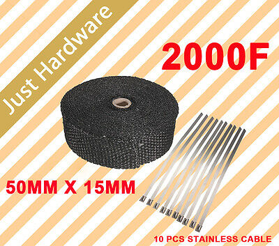 EXHAUST HEAT WRAP 50MM X 15M with 10 STAINLESS STEEL CABLE BLACK new stock back