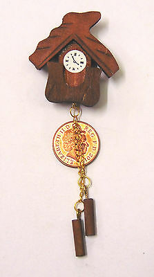 1:12 Scale Non Working Brown Wooden Cuckoo Clock Tumdee Dolls House Miniature 96