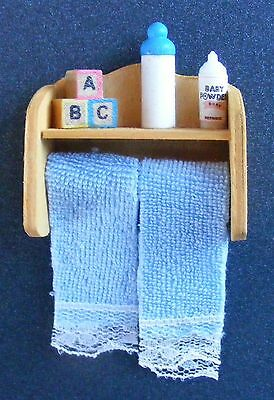 1:12 Scale Towels On A Rail & Nursery Accessories Dolls House Miniature Bathroom