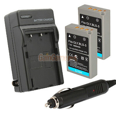 2 x BLS-5 BLS5 Battery + Charger for Olympus PEN E-PL2 EPL2 E-PL3 EPL3