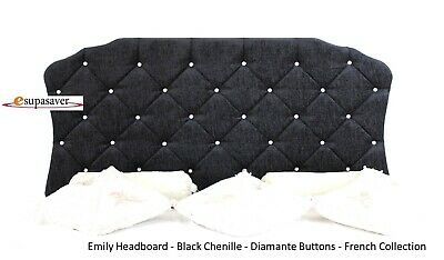 Emily Chenille Headboard All Sizes & Colours Diamante Buttons  French Collection
