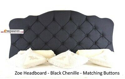Zoe Chenille Headboard All Sizes & Colours Diamante Buttons  French Collection