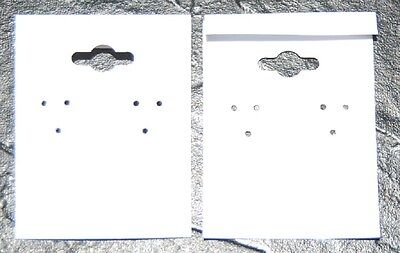 100pcs Flocked Earring Display Hanging Cards with L Lip  White 1 1/2 x 2  S1