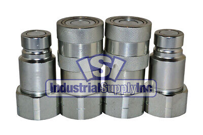 """2 sets of 3/4"""" SAE Thread Flush Face Couplers Skid Steer Bobcat Style ISO 16028"""