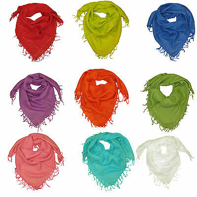 Womens Square Scarf with Beautiful Gold Lurex - Girls Vibrant Scarf