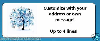 60 Personalized Winter Tree Snowflakes Return Address Labels