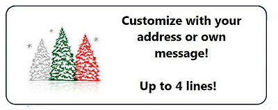 60 Personalized Colorful Christmas Trees Return Address Labels