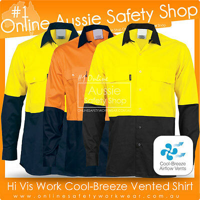 Hi Vis Light Cotton Work Cool Breeze Breathable 3-Way Vented Long Sleeve Shirt