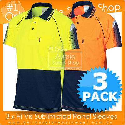 3 X Hi Vis Work Cool Breathe Micromesh Sublimated Piping Short Sleeve Polos