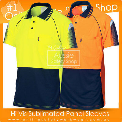 Hi Vis Fluoro Work Cool Breathe Micromesh Sublimated Piping Short Sleeve Polo