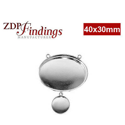 2 Bezels Cup 40x30mm &15mm Sterling Silver 925 Perfect For Setting Resin
