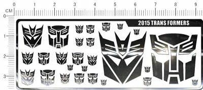 Metal chrome decals Transformers (silver) 2015