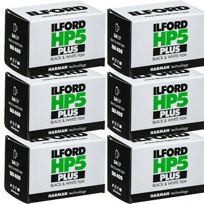 6 Rolls Ilford HP5 Plus 135-36 B&W 400 36 Exposure Black and White Film HP5-36