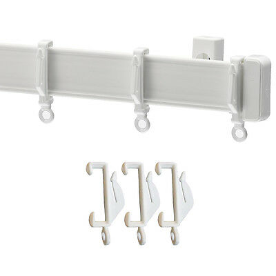 White Plastic Curtain / Net Rail - Track - Hooks - Trimmable - Trimable