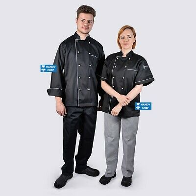 Chef Jackets Black with White Piping - See Handy Chef for Chef Pants, Chef Shoes