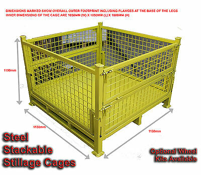 03 - Stillages With Wheels - Steel Pallet Cages - Stackable - 3 Cages For $1920-